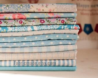 Blue Bundle Blue Linen Cotton Fabric Bundle- Blue Fabric Fat Quarter Bundle, 9 Fat Quarters Pieces