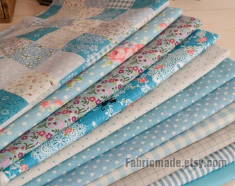 "Blue Bundle Blue Linen Cotton Fabric Bundle- Blue Fabric Fat Eight Bundle, 9 Fat Eight Pieces each 13""X9"""