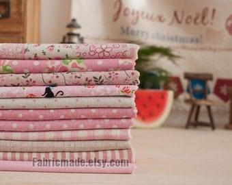 "Pink Bundle Pink Linen Cotton Fabric Bundle- Pink Fabric Bundle, 11 Fat Eight Pieces each 13""x9"""