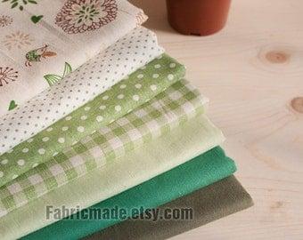 "Set of 7 Bundle / Green Bundle Fabric / Quilting Fabric Bundle/ Green Fabric - Linen Cotton Fabric Bundle each 13""X19"""