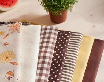 "Set of 7 Bundle / Yellow Brown Bundle Fabric / Quilting Fabric Bundle/ Yellow Brown Fabric - Linen Cotton Fabric Bundle each 13""X19"""