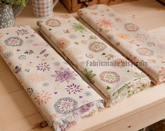 Fat Quarter Bundle Fabric, Beige Bundle Fabric, Beige Fabric with Floral Birds, Purple, Green, Orange - Sets for 3 each a fat quarter