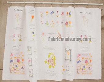 """Sale- Flower Fabric Floral Garden Linen Cotton Fabric Floral Collection Curtain Fabric- One pattern 33""""X55"""""""
