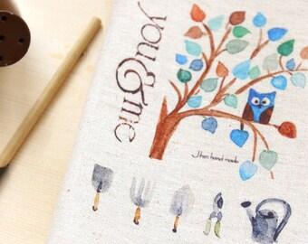 "Kids Decor Fabric, Hand Printed Linen Cotton Fabric - Growing Tree Owl Tools Panel 8""x 12"" (20cm X 30cm)"