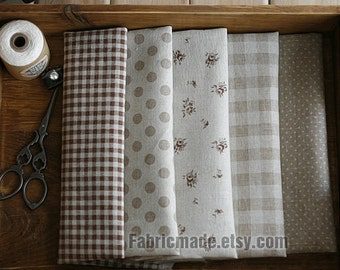"""Brown Beige Cotton Linen Fabric, Plaid Dots Flower Patchwork In Beign, Quilting Curtain Fabric- a half yard 18""""X44"""""""