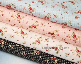 Strawberry Fabric/ Designs Fabric / 4 Fat Quarter Bundle / Fabric Bundle / Cotton Quilt Fabric