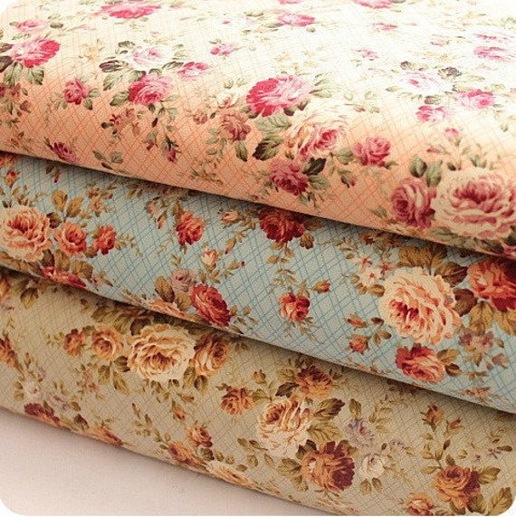 Floral Fabric Cotton Fabric Shabby Chic Floral By