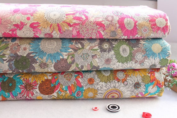 Sunflower Cotton Fabric Flower Fabric Floral Fabric Cotton Shabby chic Spring Fabric - 1/2 yard 3 color available pink blue yellow