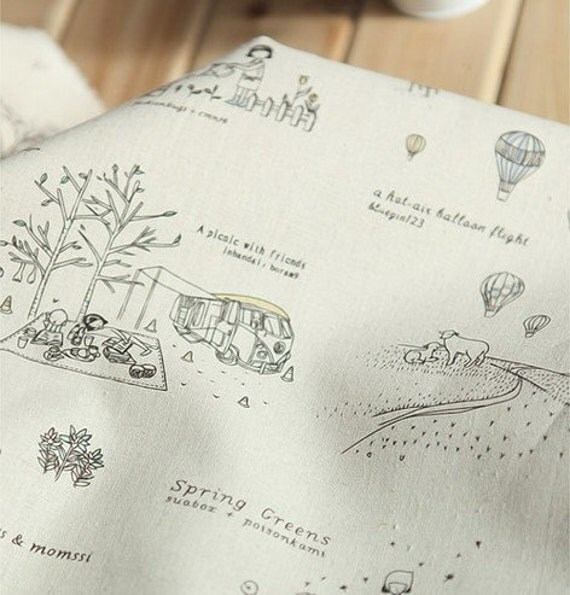 Craft Linen Cotton Blended Fabric, Linen Fabric,  Vintage Style, Curtain Fabric, Little Tree Pattern Fabric- 1/2 yard
