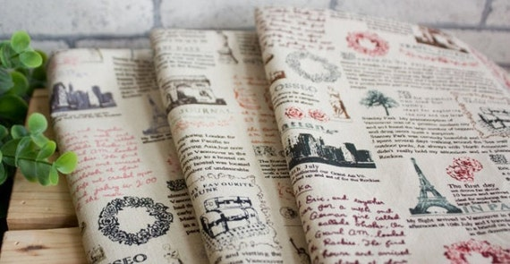 Vintage Newspaper Fabric Linen Fabric Vintage Looking Linen Cotton Fabric Paris Linen Fabric Antique Fabric - 1/2 Yard
