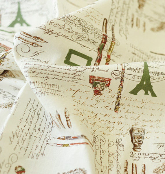 Vintage Letters Fabric Cotton Linen Fabric French Country Fabric/ Paris Fabric- 1/2 yard Red Blue Yellow Green