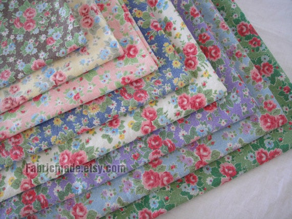 Floral Linen Fabric With Vintage Rose/ Shabby Chic/ By
