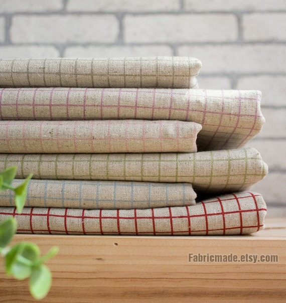Plaid Beige Fabric, Beige Linen Cotton Fabric, Red Pink Green Blue Purple Plaid Fabric- Cushion Curtain Pillow Cover 1/2 yard