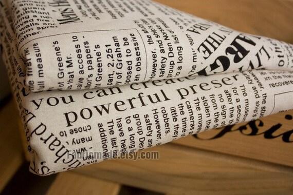 Vintage Newspaper Fabric Linen Fabric Linen Cotton Fabric