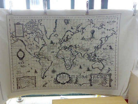 Off White Cotton Linen Fabric Vintage World Map Fabric Curtain Quilting Bags Fabric- One pattern 145x75cm