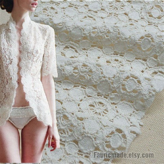 Embroidered White Fabric, Off White Lace Fabric, Eyelet Lace, Round Circle Cotton Lace Fabric- Hollowed 1/2 yard Lace