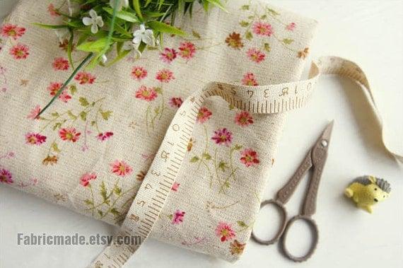 Little Daisy Floral Fabric Linen Cotton Shabby Chic Flower