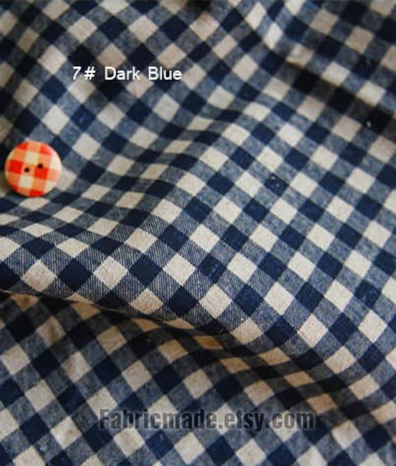 Chic Blue Beige Cotton Linen Plaid Curtains For Boys Bedroom: Japanese Linen Fabric Basic Plaid Fabric Plaid Linen