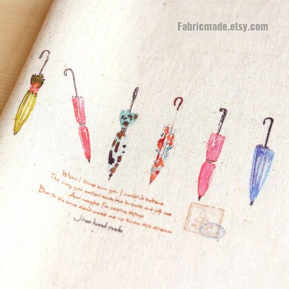 "Colorful  Umbrella Linen Fabric Hand Printed Fabric Linen Cotton Handmade Fabric Watercolor Umbrella Fabric-  8""x 8"" (20cm X 20cm)"