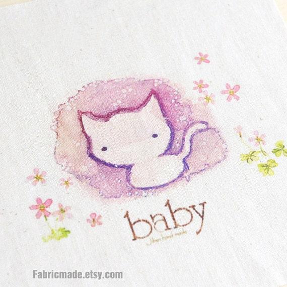 "BABY CAT Fabric Hand Printed Linen Cotton Fabric Pastel Purple Kitty Panel 8""x 8"" (20cm X 20cm)"
