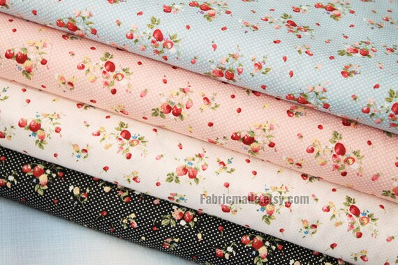 Strawberry Fabric Cotton Shabby Chic Red In Blue Pink White Black