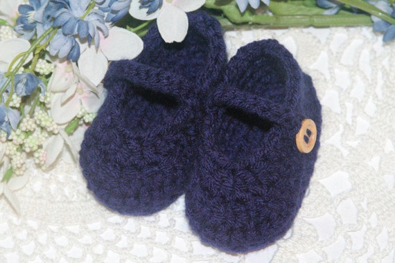 Crocheted Baby Booties - Navy Blue Baby Booties - Crochet Mary Jane Baby Booties - 0/3 Months, Handmade Baby Shoes