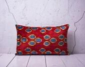 15 x 24 Decorative Pillow Accent Pillow Throw Pillow Ikat Pillow Cover Silk Pillow Red Velvet Ikat Cushion- 01991-108