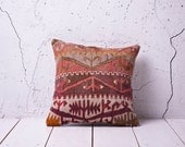 """hand woven vintage kilim pillow cover - 15.75"""" x 15.75"""" - FAST shipment with UPS - 01064-59"""