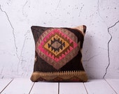 "hand woven vintage kilim pillow cover - 15.75"" x 15.75"" - free shipment with UPS - 01109-36"