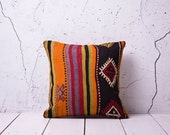 "20% DISCOUNT - coupon code "" YASTK20 "" - hand woven vintage kilim pillow cover - 15.75"" x 15.75"" - free shipment with UPS - 01119-36"