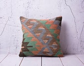 """hand woven vintage kilim pillow cover - 15.75"""" x 15.75"""" - FREE shipment with UPS - 01574-36"""