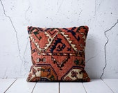 """coupon code """" YASTK20 """" - hand woven old carpet pillow cover - 17.91"""" x 17.91"""" - free shipment with UPS - 02086-175"""