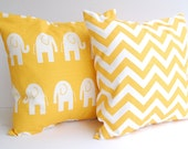 "Yellow pillow covers set of two 18"" x 18"" decorative throw pillow covers yellow chevron zig zag and yellow elephants"