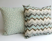Pillows, Pillow Covers, Cushion Covers, Pillow Shams Greek Key pattern and zig zag Seesaw pattern - pale smokey blue gray brown