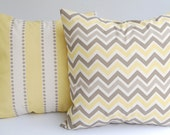 Decorative pillow covers set of two lemon yellow, taupe, and natural chevron and stripes cushion covers