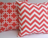 "Coral pillow covers set of two 20"" x 20"" coral and white zig zag chevron stripe and Gotcha links"