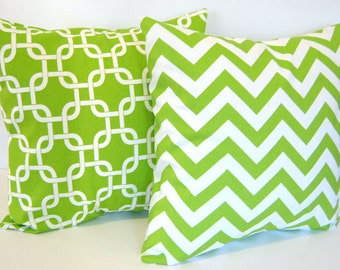 "Decorative pillow covers set of two 16"" x 16"" chartreuse green chevron stripe and green geometric"