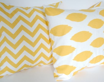 Decorative pillow covers set of two yellow throw pillows yellow pillow covers yellow cushion covers Chevron Chipper