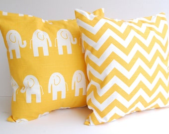 Pillow yellow set of two decorative throw pillow covers corn mustard yellow chevron zig zag and yellow elephants