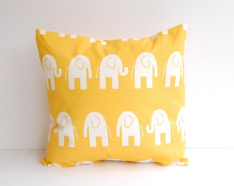 Pillow cover Pillow Sham Cushion Cover mustard corn yellow Ele mod elephants