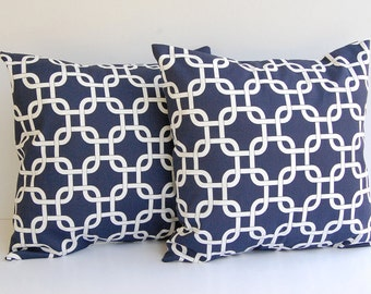 "Throw pillow covers set of two 20"" x 20"" Navy Gotcha"