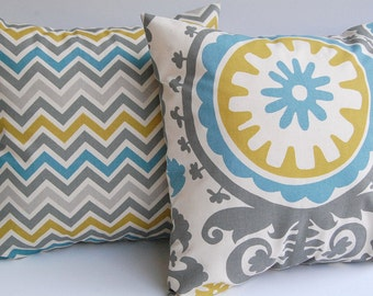 """Throw pillows zoom zoom chevron stripe and Suzani Summerland set of two 18"""" x 18"""""""