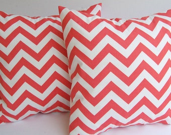 Coral chevron throw pillow covers coral and white zig zag chevron stripe pillow shams cushion covers