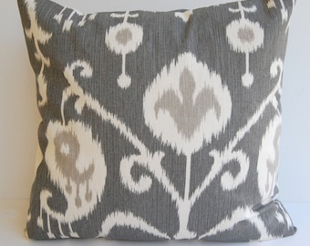 "Ikat decorative throw pillow cover one 16"" x 16"" in Pewter gray pillow cover gray cushion cover gray pillows"