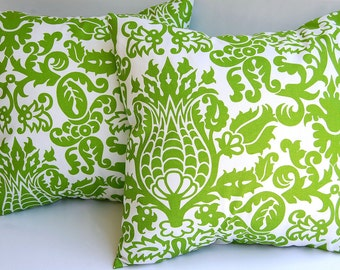 Lime throw pillows set of two pillow covers chartreuse green Amsterdam damask chartreuse kiwi cushion covers
