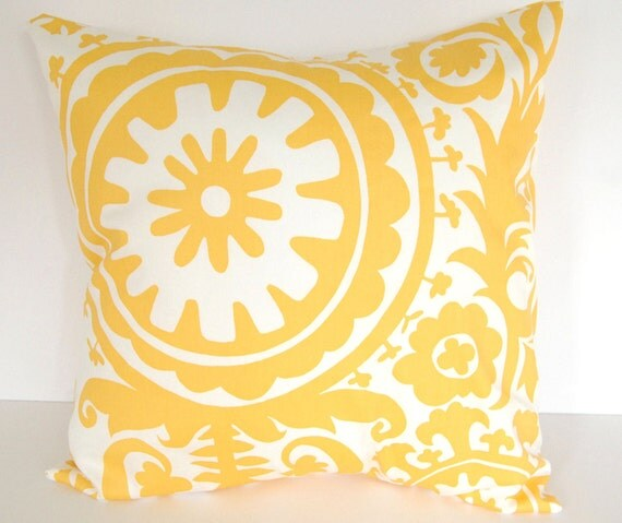 "Throw pillows yellow set of two 22"" x 22"" yellow Suzani decorative throw pillow covers"