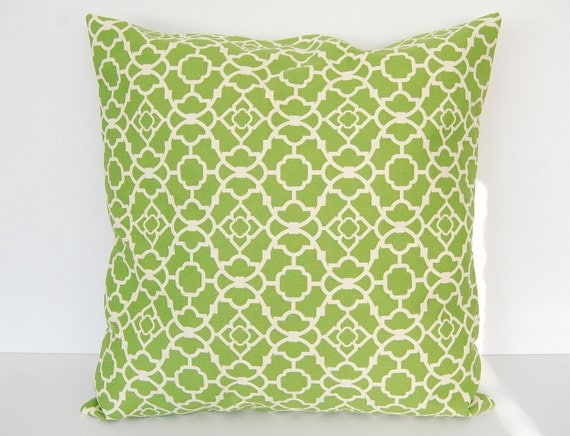 """Decorative pillow cover 20"""" x 20"""" green lattice"""