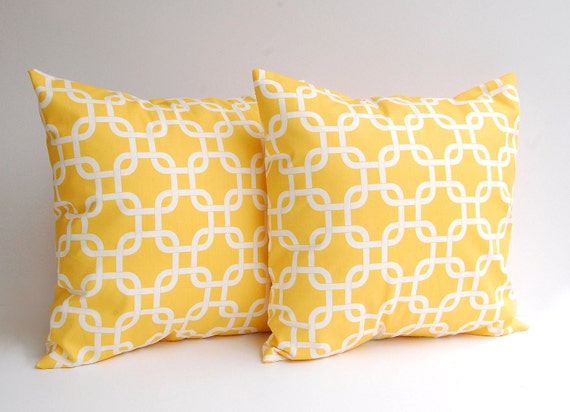 Yellow pillow covers set of two decorative throw pillow covers in Yellow Gotcha