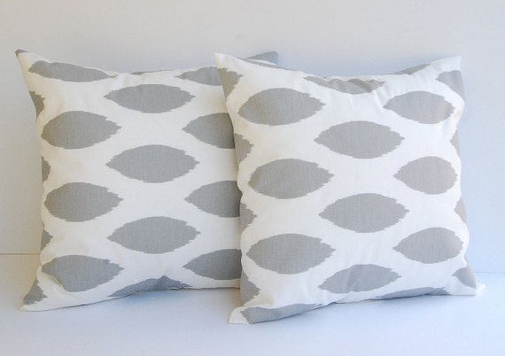 Gray pillow set of two decorative accent pillow covers shams storm gray Chipper grey Ikat