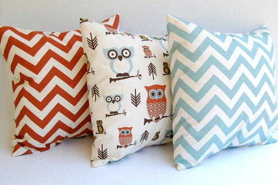 Throw pillows, Cushion Covers, Pillow Shams natural, rust and light smokey blue with Owls Fall rustic home decor